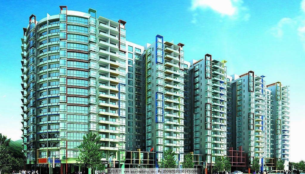 高层效果图 立面图 楼效果图 高层 多层 楼房 建筑效果图 环境设计