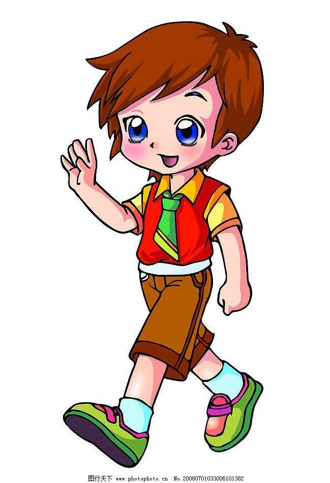 卡通男孩 卡通 男孩 小孩 小男孩 打招呼 psd分层素材 其他 源文件库