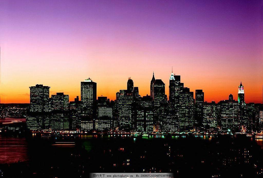 城市夜景 自然景观 自然风景 摄影图库