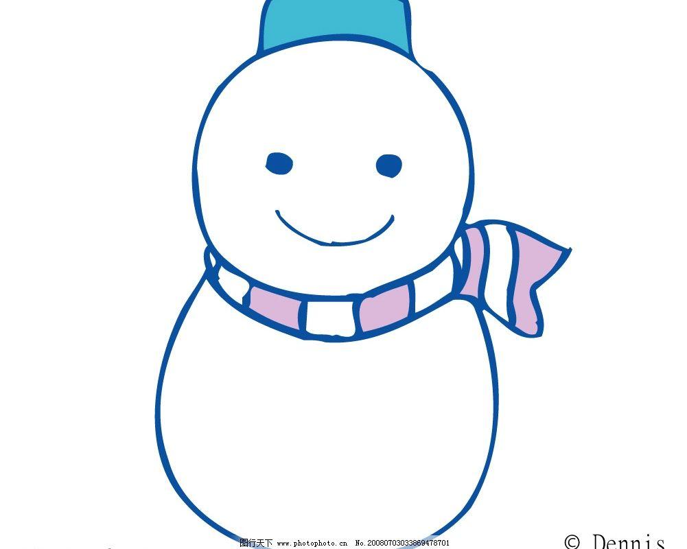 雪人放风筝简笔画