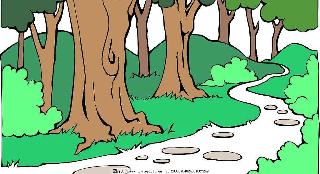 森林中的小溪 小溪 树木 自然景观 自然风景 矢量图库   cdr