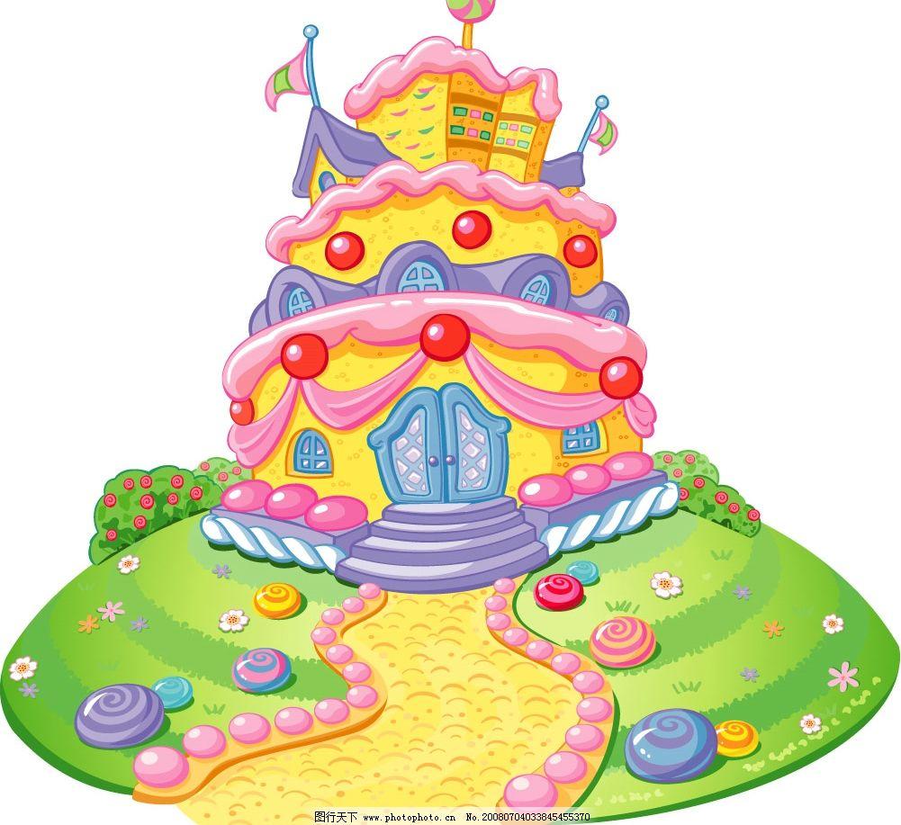 好看又美味的糖果屋 超可爱雪糕屋 水果屋 可爱的小点心 其他矢量
