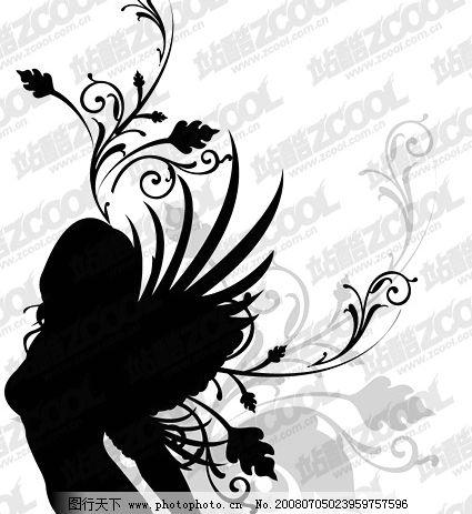 翅膀女性花纹矢量素材3