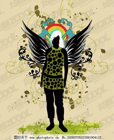 翅膀女性花纹矢量素材