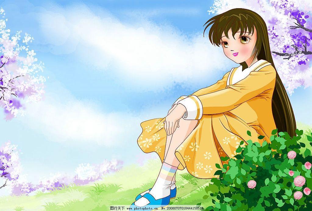 动漫女孩1 美景 女孩 动漫动画 风景漫画 设计图库 300 jpg