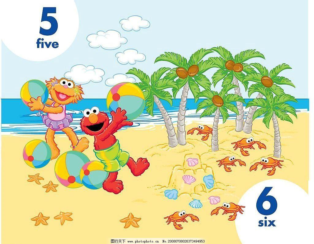 five six 情景教学 卡通设计图库 数字教学 矢量图库