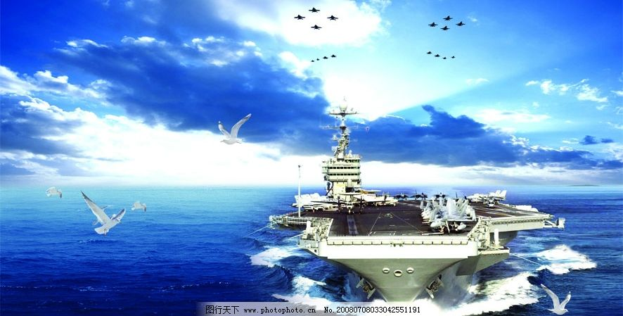 天空 蓝天 白云 海鸥 战斗机 飞机 大海 船 浪花 飞翔 背景 素材 psd