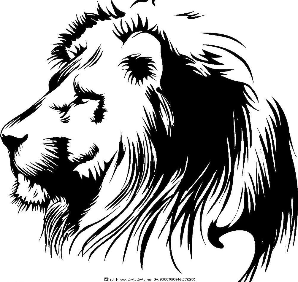 黑白狮头 狮子 狮头 侧面狮子 生物世界 野生动物 设计图库 72 jpg