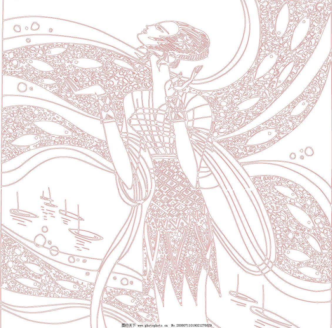 手绘线描鱼