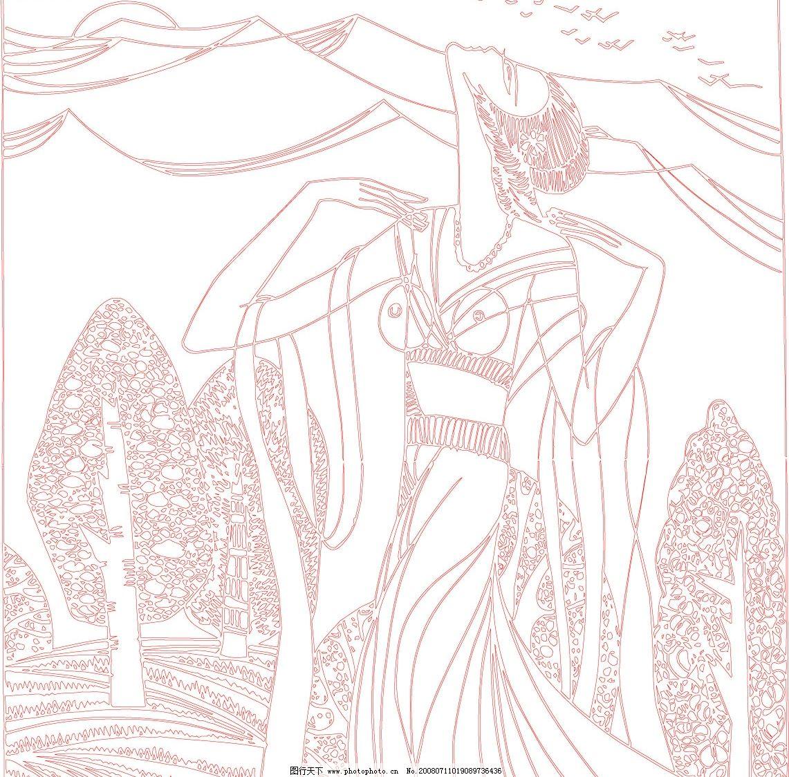 美女线条画 美女 精美线条 小鸟 树林 高山 人物造型 文化艺术 美术