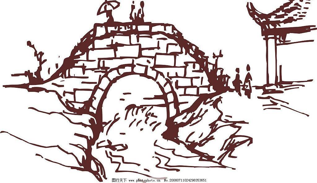 手绘古石桥图片