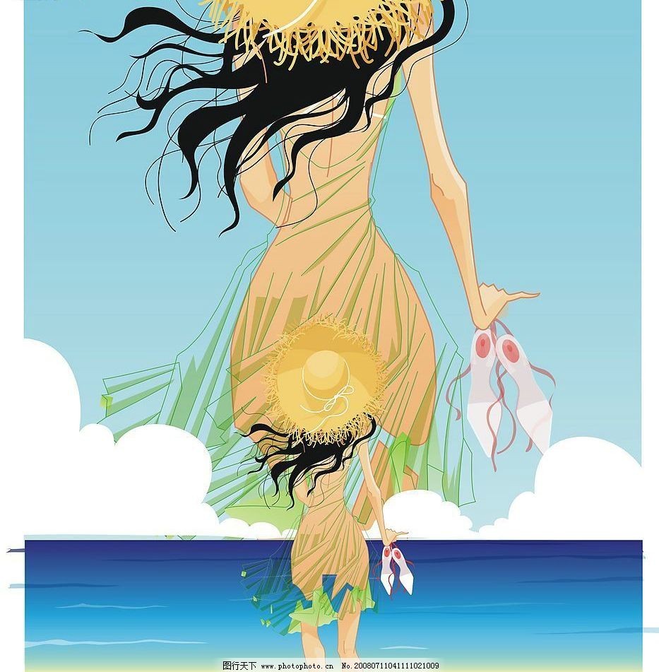 沙滩女孩 矢量图 矢量人物 妇女女性 矢量图库