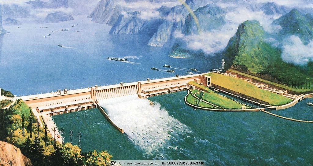 三峡风景绘画简笔画