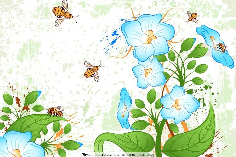 矢量花朵 花卉 蝴蝶 蓝色 绿色 小花 花儿 漂亮 节日素材 春节