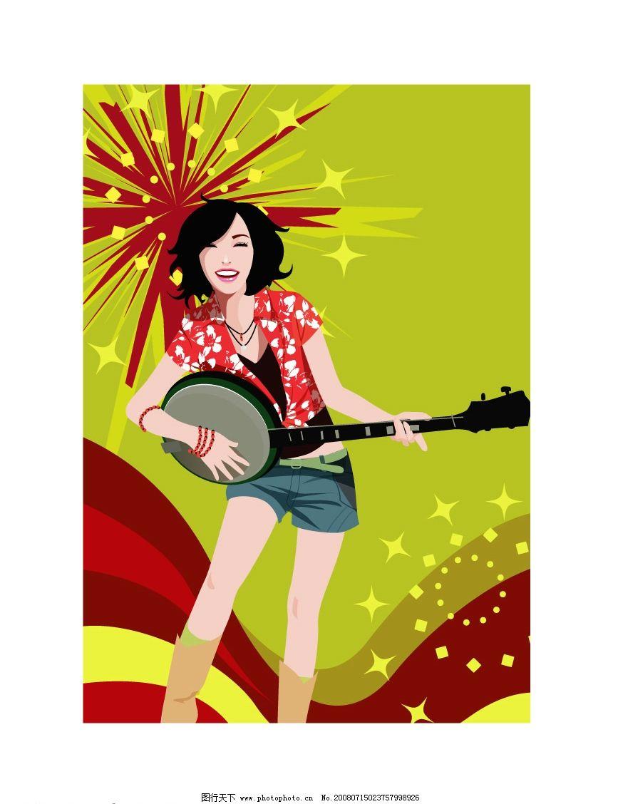 音乐美女图片