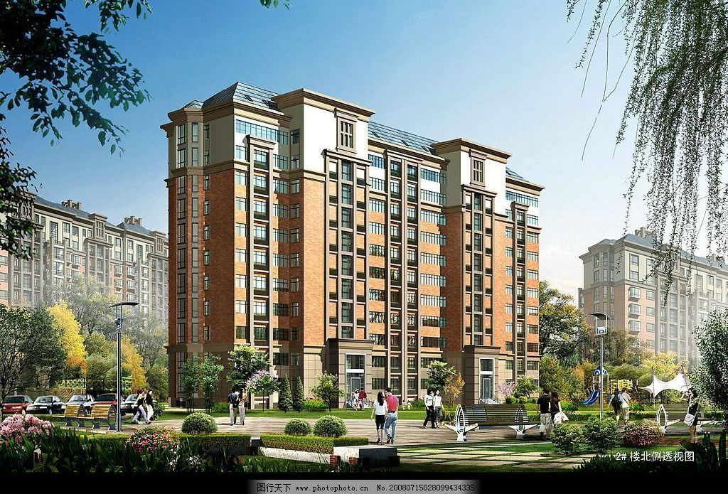 建筑效果圖 小高層 單體樓房 單體樓 樓房        環境設計 建筑設計