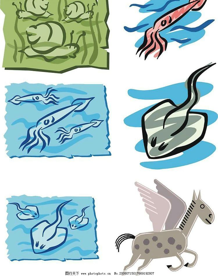 海洋生物 生物 动物 海鲜 生物世界 矢量图库 cdr