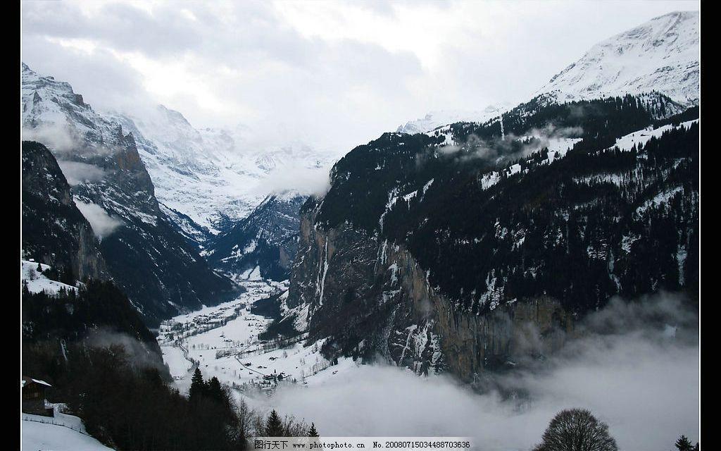 水墨画般的瑞士雪山 山水画 水墨画 瑞士 雪山 自然景观 山水风景