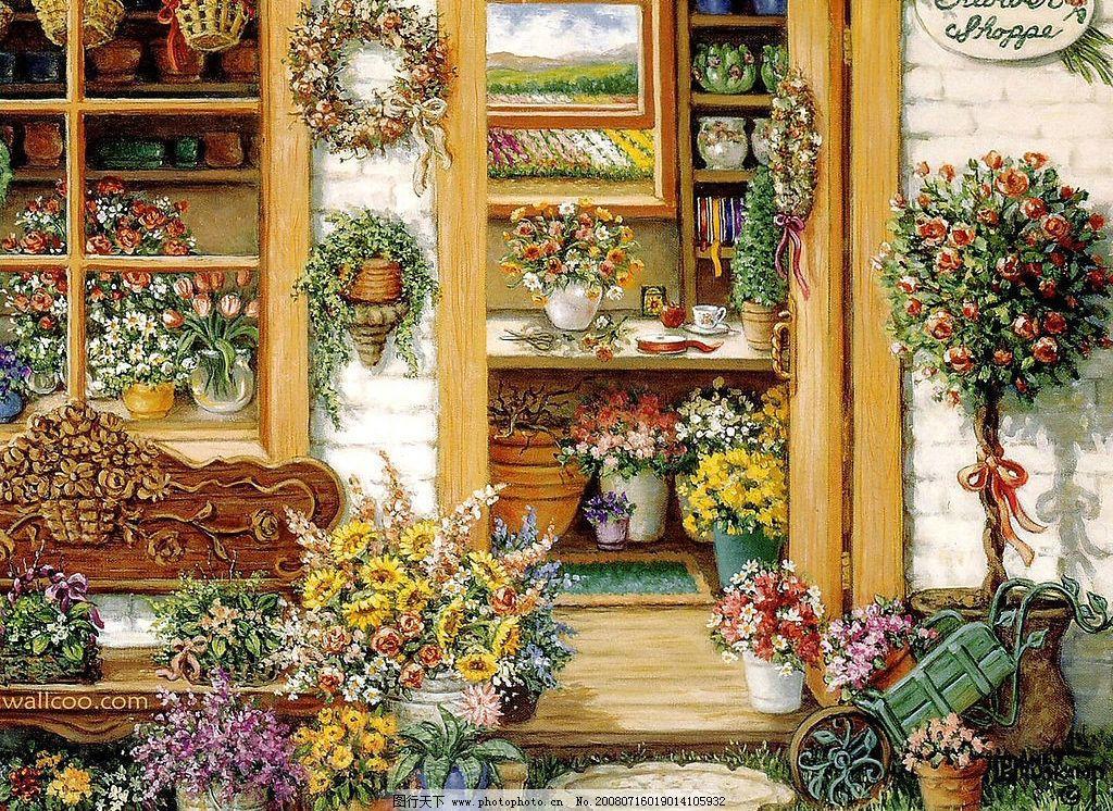 花园之景 花花世界 家具 窗外 文化艺术 绘画书法