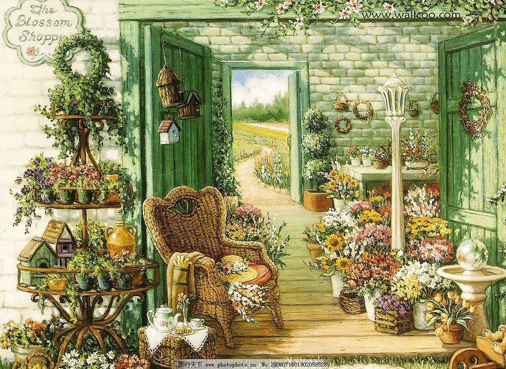 花园之景 花卉 木门 饰物 椅子 台桌 文化艺术 绘画书法