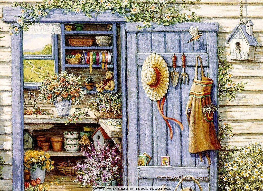 花园之景 花花世界 窗外 木门 帽子 围裙 水壶 文化艺术 绘画书法