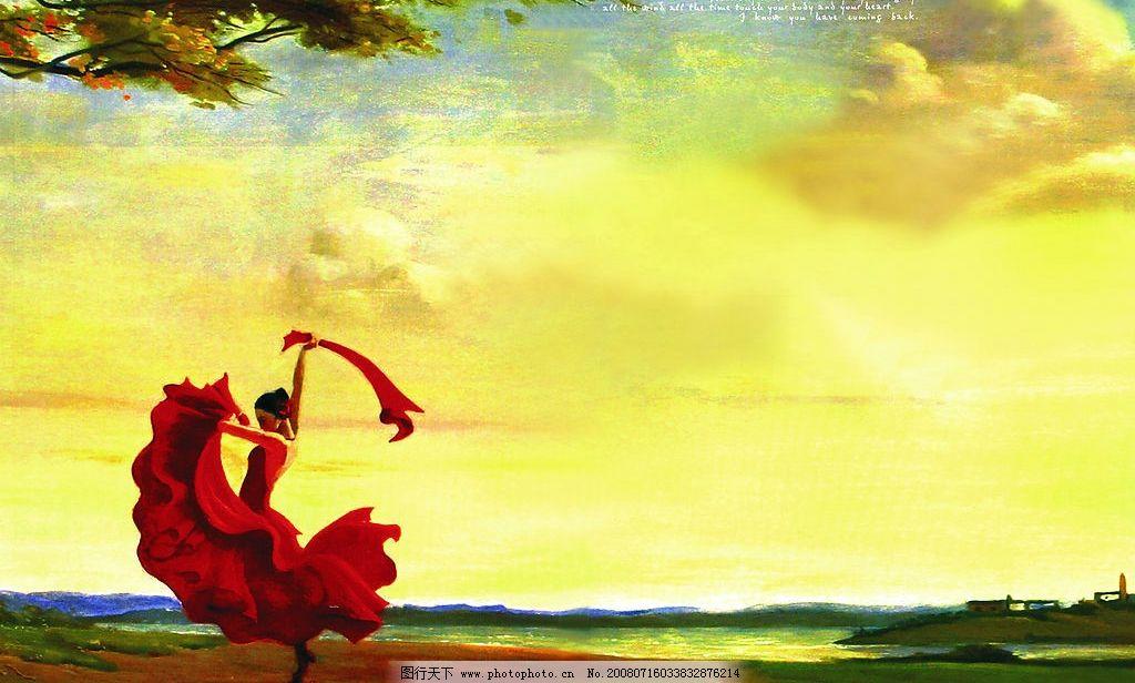 西班牙跳舞女郎油画 风景 图片素材