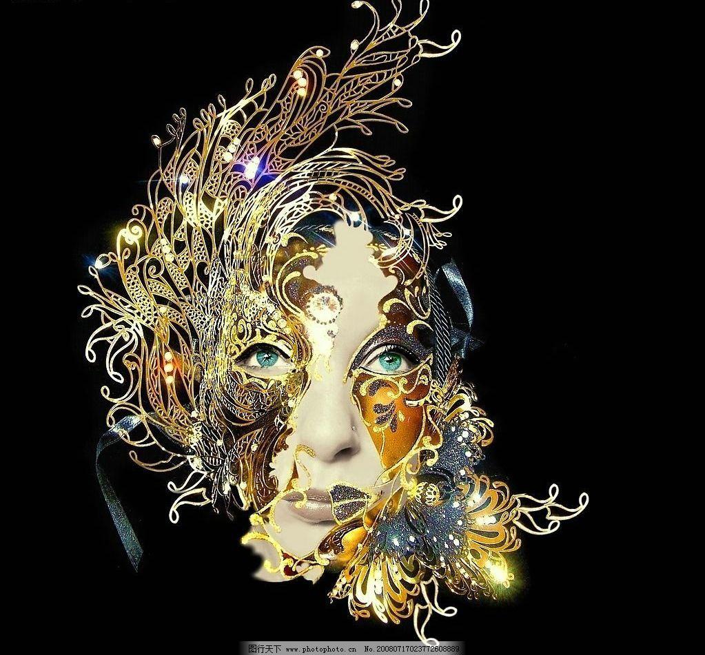 黄金面罩 饰品 贵族 女人 设计素材