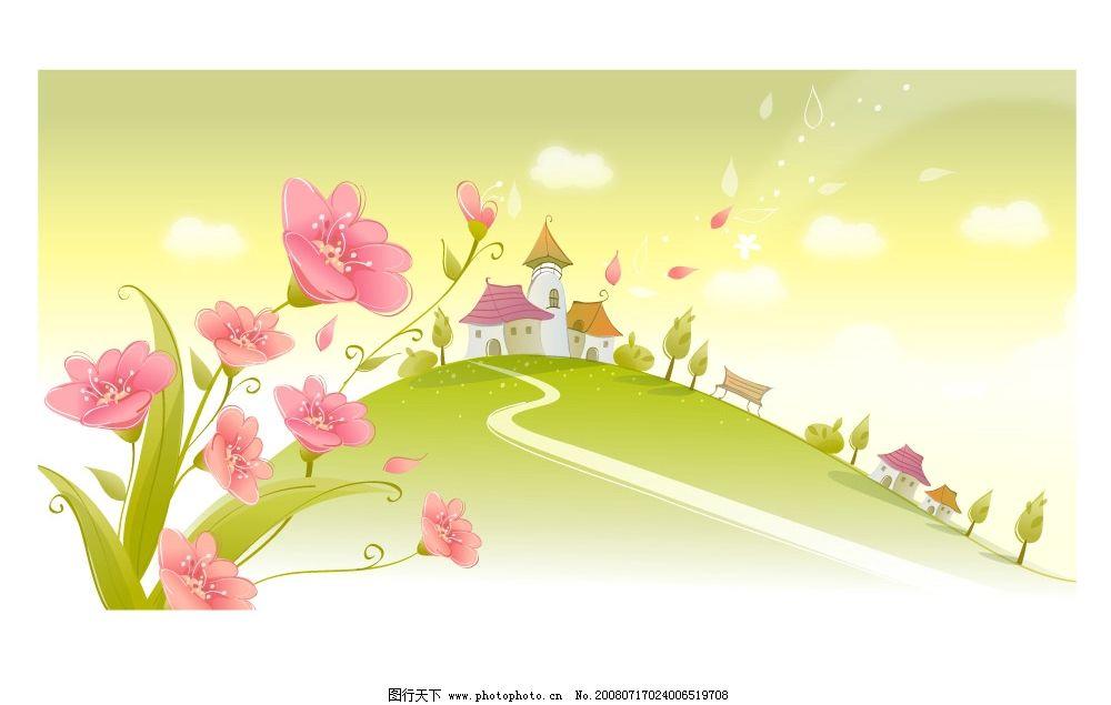 春夏风景矢量图图片