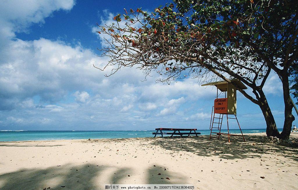 海边景色 大海 蓝天 沙滩 树阴 树 旅游摄影 自然风景 摄影图库 350dp
