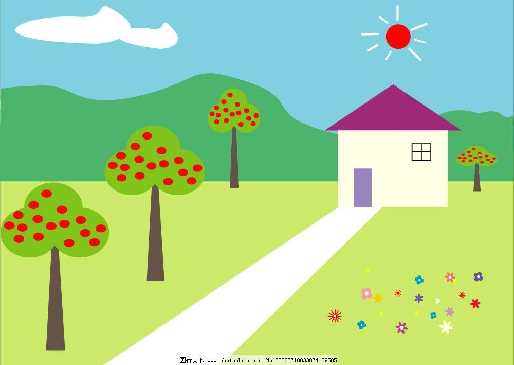 儿童家园 在绿林中的可爱房子 其他矢量 矢量素材 矢量图库 cdr