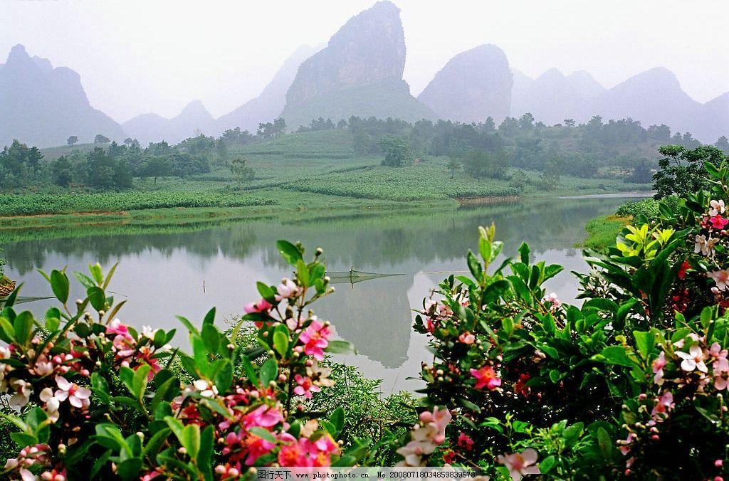 壮乡五月花满坡 山 水 山青水秀 花 美景 自然景观 自然风景 摄影图库