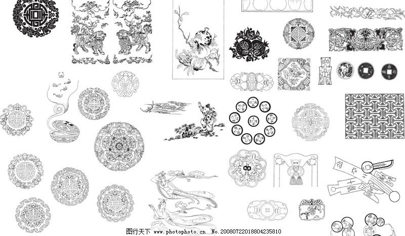 吉祥图腾传统花纹古典纹理 古典纹理 古典图案 传统花纹 中华传统图案