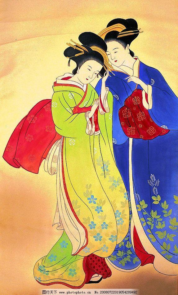 仕女图 工笔人物 仕女 设计图 美女 绘画书法 古代 传统工笔 画 经典