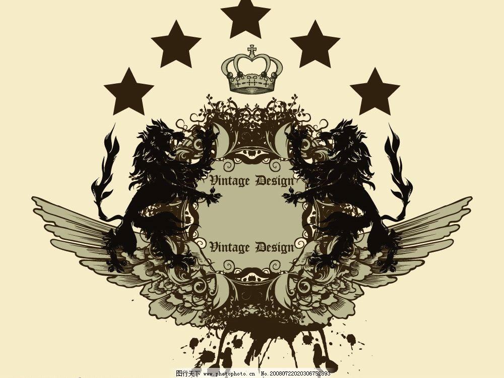 狮子翅膀皇冠花纹矢量图图片