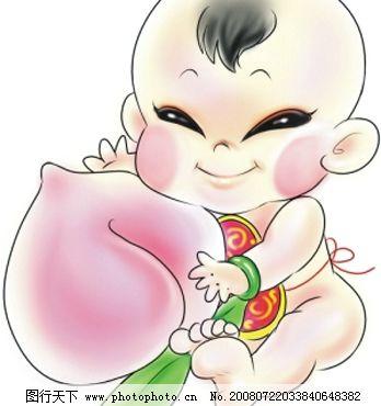拿寿桃的可爱童子 (位图)图片