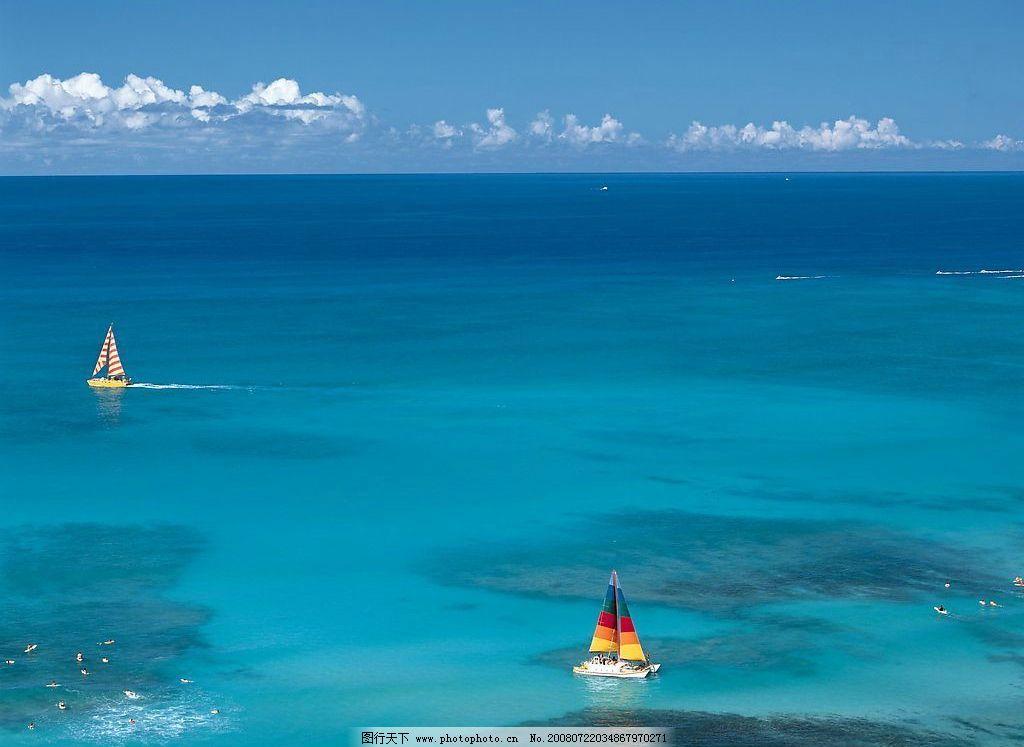 夏威夷关岛 帆船 天空 海人 自然景观 自然风景 摄影图库
