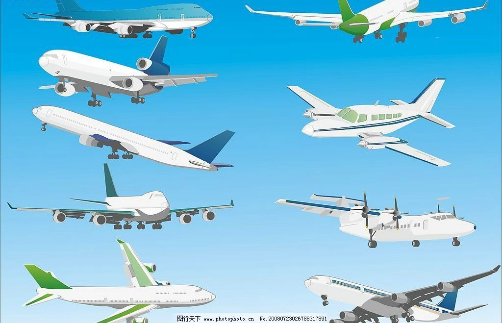 飞机 客机 航天 空运 现代科技 交通工具 矢量图库 cdr