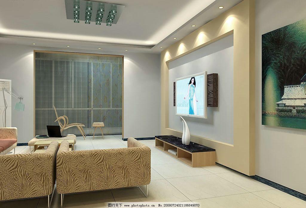 客厅效果图 沙发 电视背景墙 吊灯 电视柜 3d设计 3d作品 设计图库