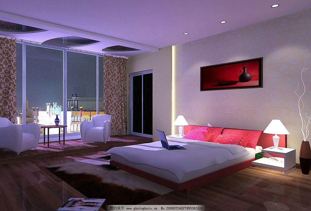 卧室效果图 床 窗 环境设计 室内设计 设计图库 72dpi jpg