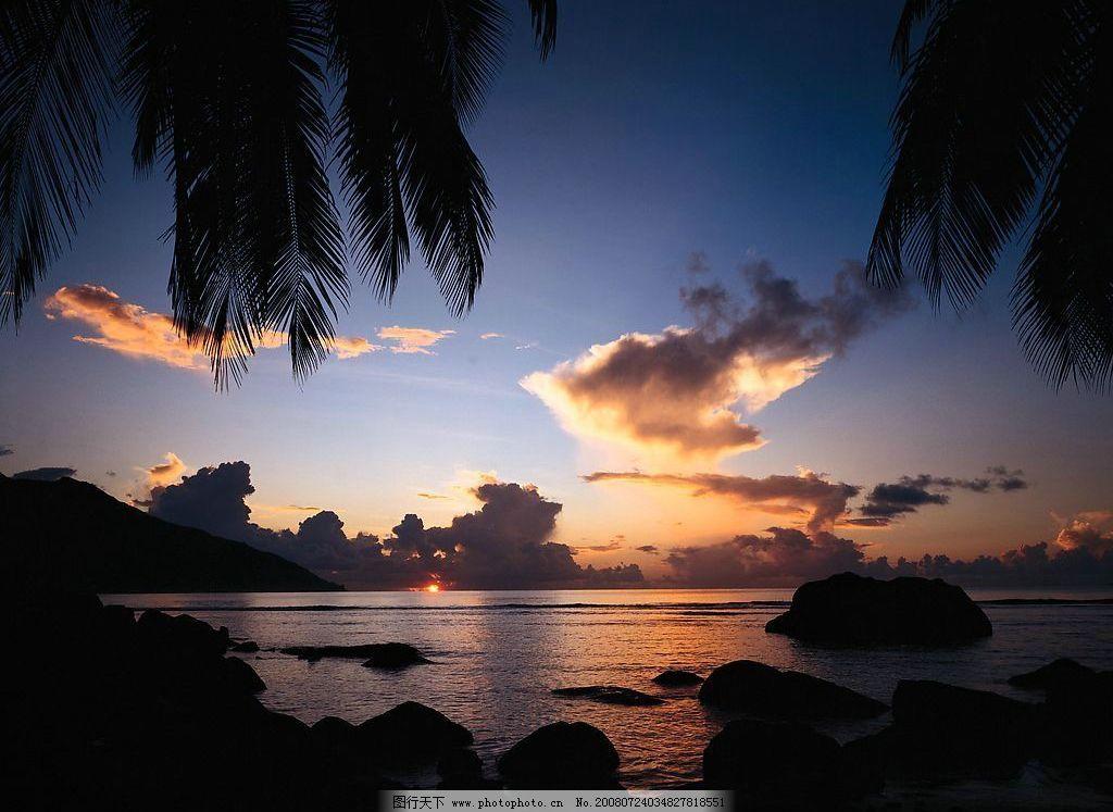夏威夷关岛 椰子树 海 石头 天空 自然景观 自然风景 夏威夷 关岛