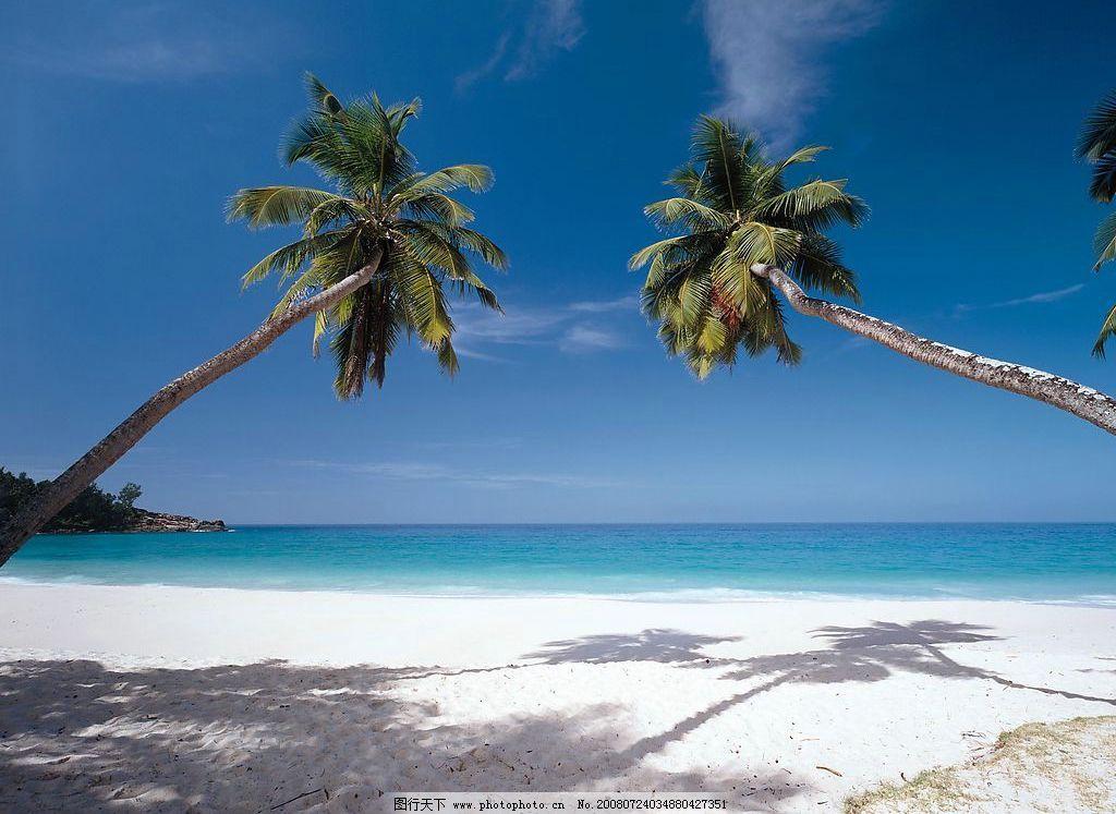 夏威夷关岛 天空 椰子树 沙滩 海 自然景观 自然风景 夏威夷 关岛
