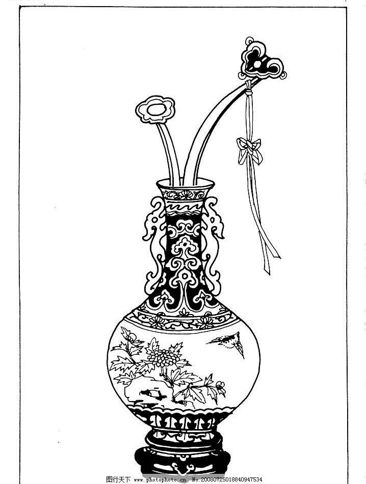 装饰图案简笔画吉祥如意黑白画
