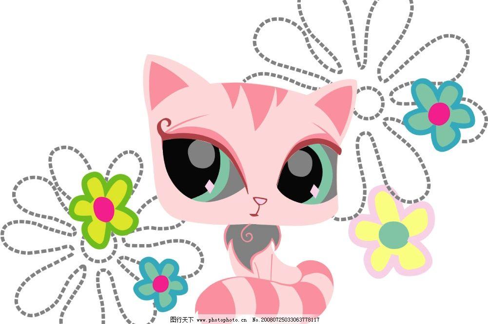可爱猫咪 卡通小猫 小花 可爱卡通 丝网 丝网印刷 源文件库图片