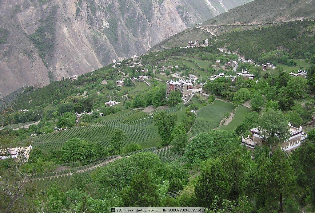 山上民居 自然景观 自然风景 摄影图库 72dpi jpg