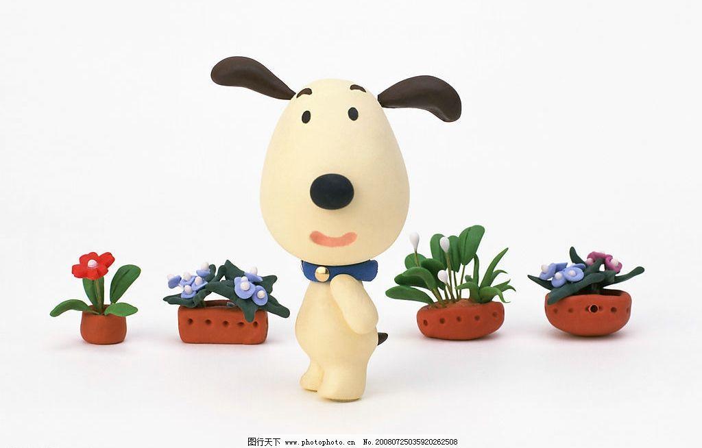 卡通动物 动漫 卡通小狗 小狗和花 站立的小狗 摄影图库