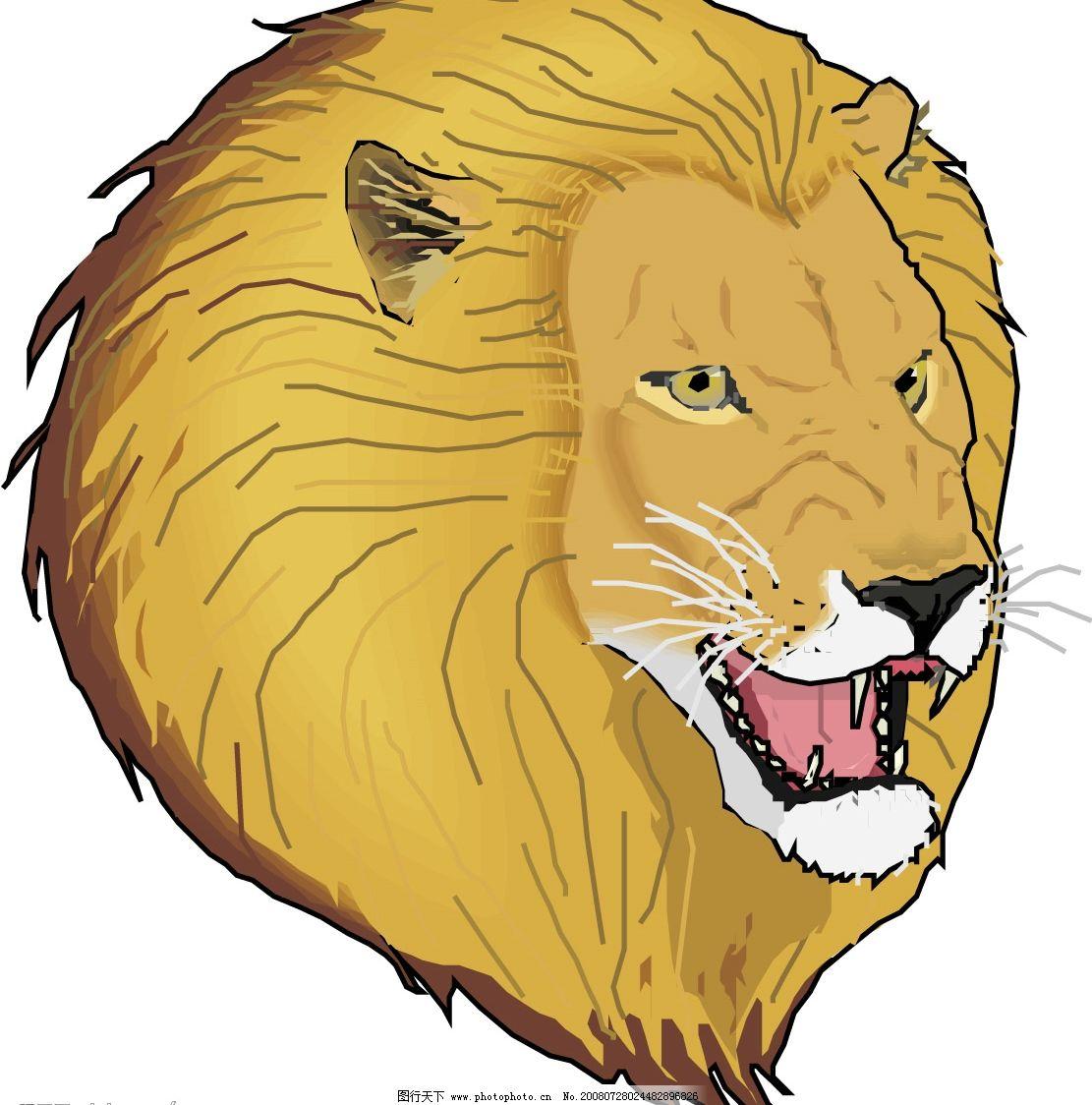 狮子头矢量图 生物世界 野生动物 矢量图库 eps