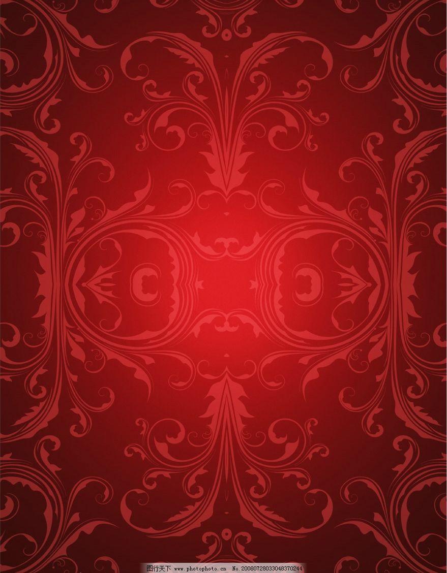 高档欧式花纹红底 红色底纹 红色背景 花纹背景 psd分层素材 源文件库