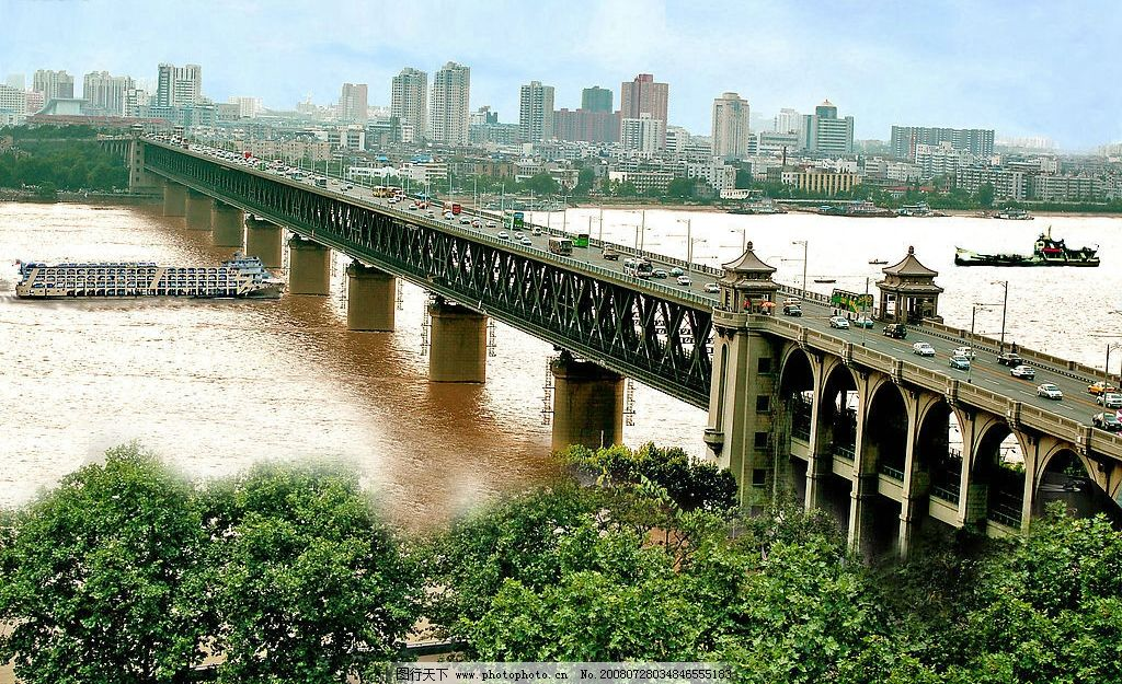 长江大桥 武汉长江大桥 武汉景色 风景 自然景观 自然风景 摄影图库