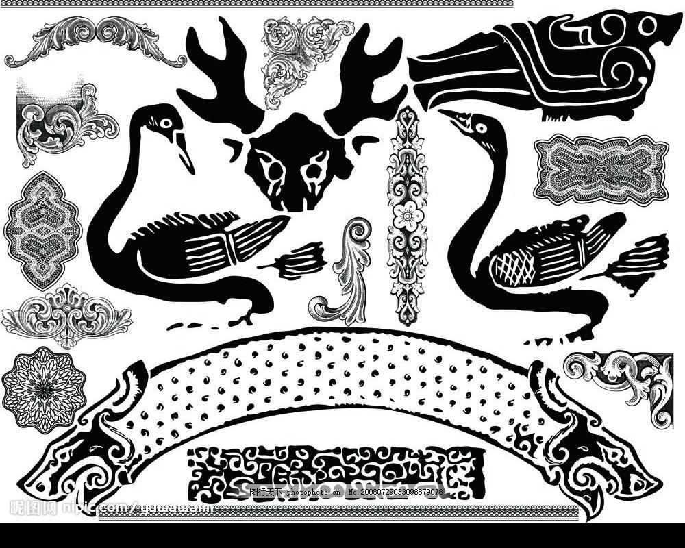 中华玉器纹饰4 玉器 纹案 传统元素 吉祥图案 黑白影象 古典花纹 条纹