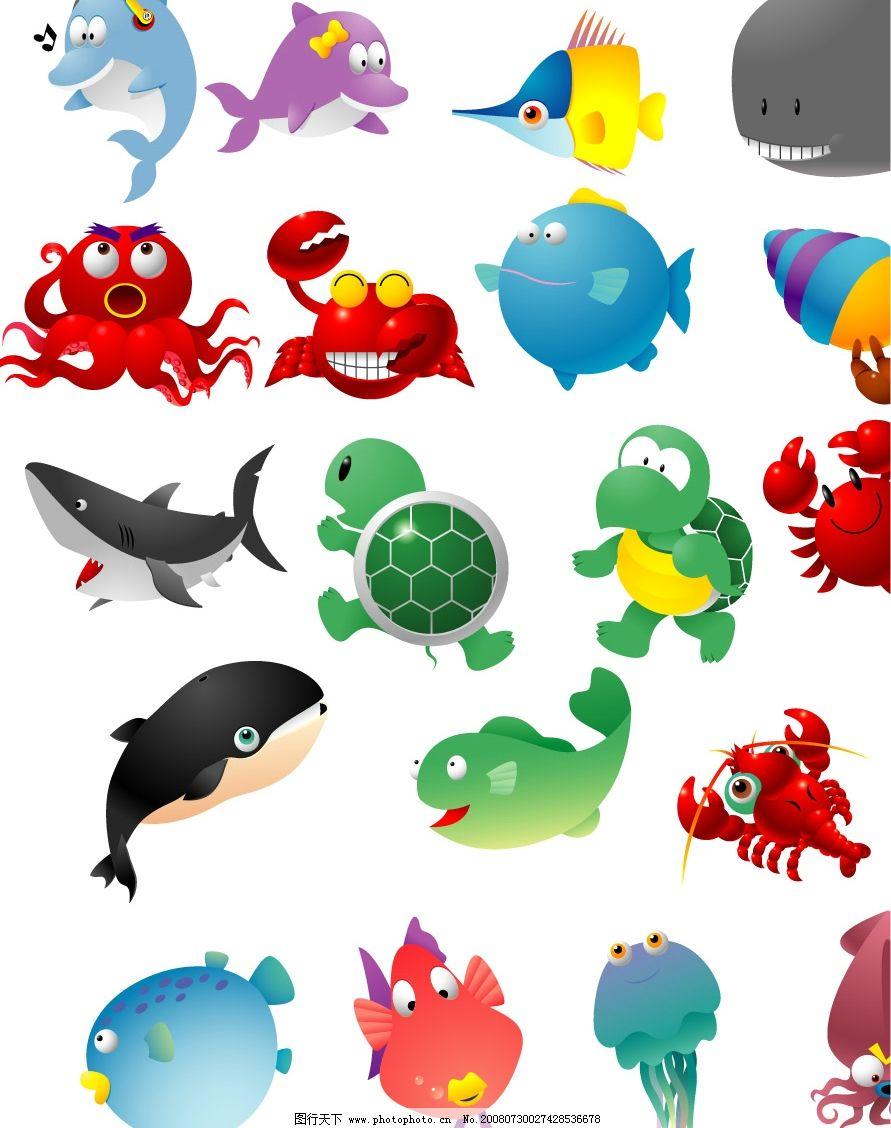 可爱海洋动物图片,乌龟 海豚 鲨鱼 热带鱼 龙虾 生物